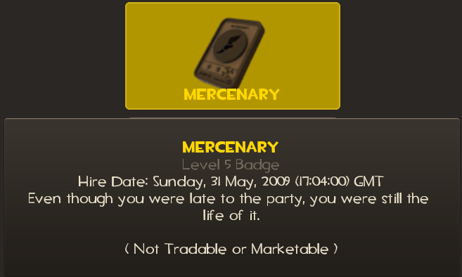 My Mercenary medal showing a first play date of 31 May 2009
